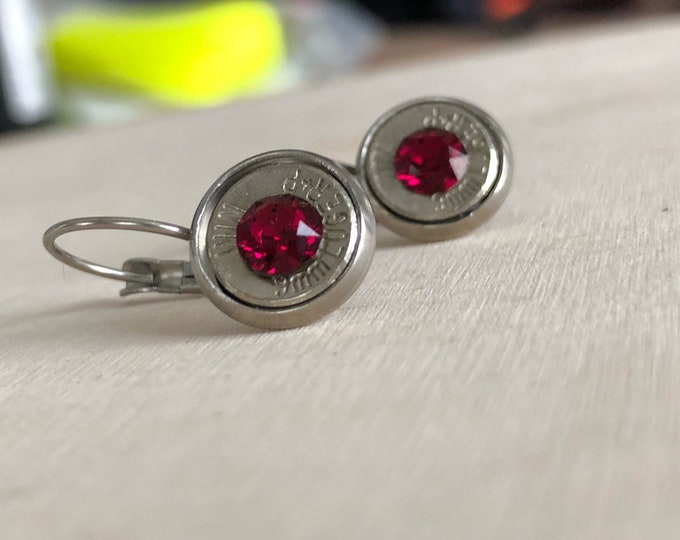 9mm silver bullet earrings, stainless steel lever backs, red swarovski crystals