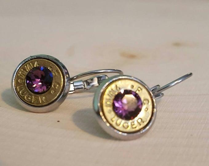 9mm purple bullet dangle earrings