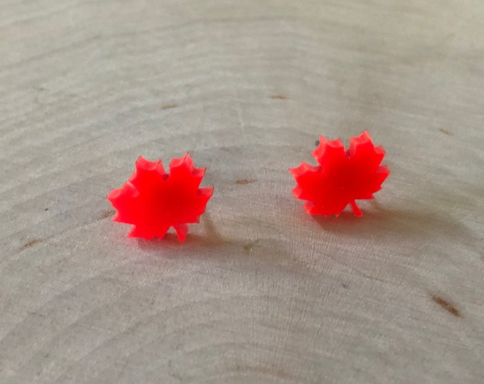 Orange maple leaf studs, stainless steel posts