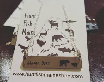 Mama bear necklace, 2 cubs or 1 cub