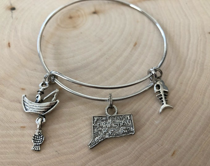 Connecticut fishing bangle bracelet