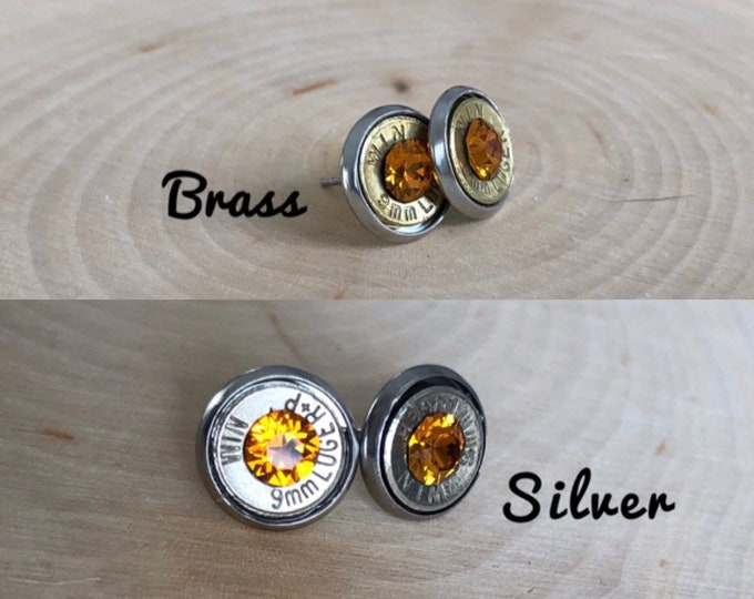 9mm orange crystal, silver or brass bullet studs, stainless steel backings