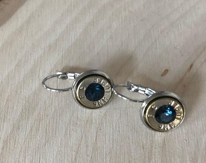 9mm silver bullet earrings, stainless steel lever backs, navy swarovski crystals