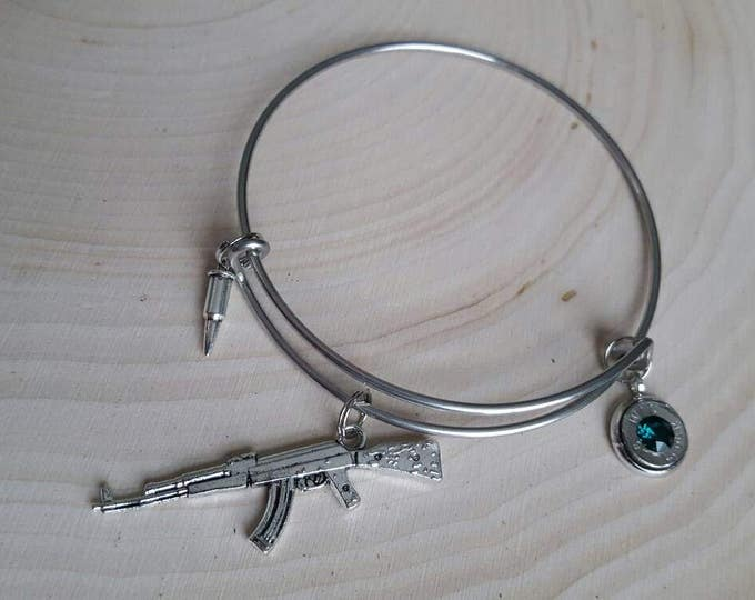 Gun and bullet bangle, 9mm bullet
