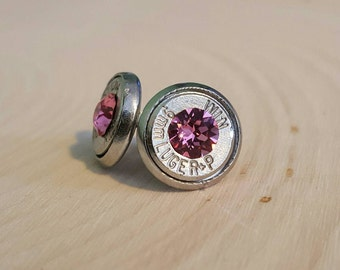 9mm pink crystal bullet studs, stainless steel backings