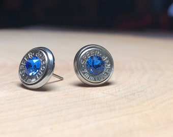 9mm sapphire stud earrings, silver bullet slice earrings, stainless steel