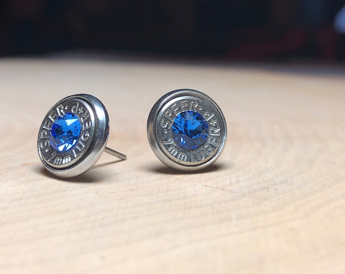 9mm sapphire stud earrings, silver bullet slice earrings, stainless steel