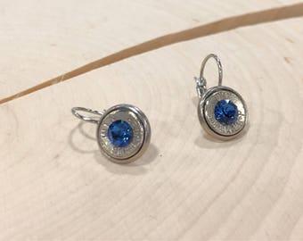 9mm sapphire swarovski crystals stainless steel lever back dangle earrings