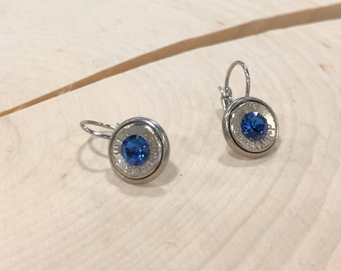 9mm sapphire swarovski crystals stainless steel lever back dangle earrings