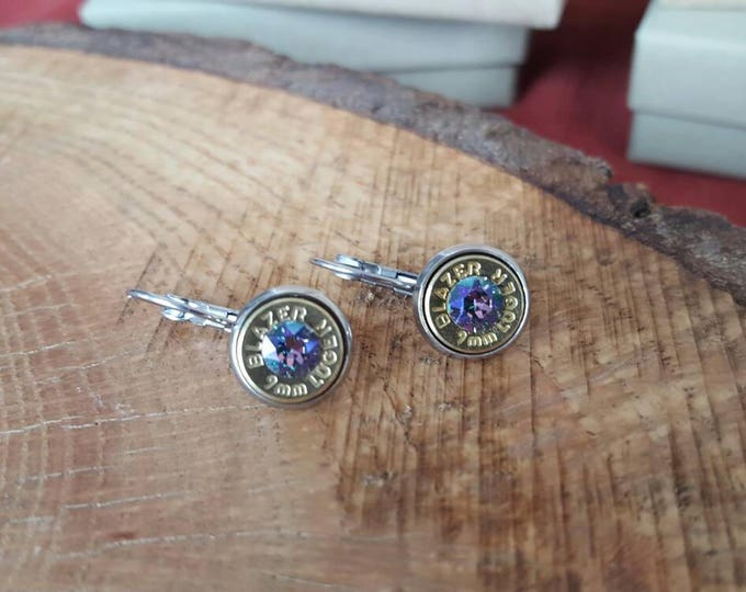 Rainbow colored 9mm dangle earrings with stainless steel lever backs