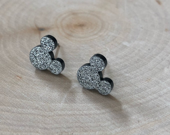 Black sparkly mickey mouse earrings, stainless steel posts.