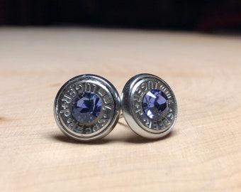 9mm light purple bullet earrings, swarovski crystals. Backings are stainless steel