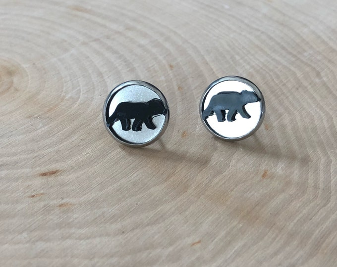 Black bear earrings, stainless steel posts.