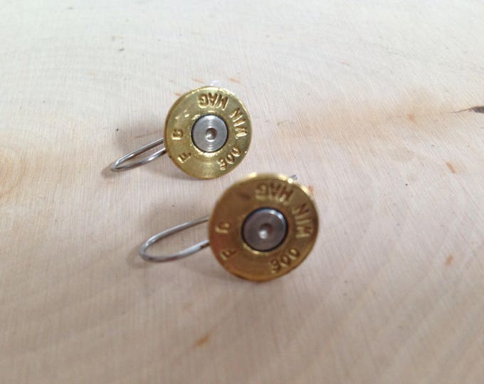 300 win mag drop earrings, stainless steel backs