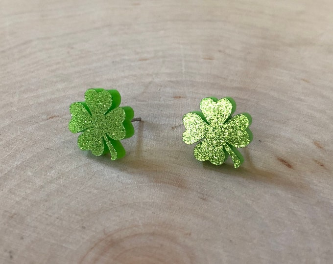 Green glitter fourleaf clover studs, stainless steel posts