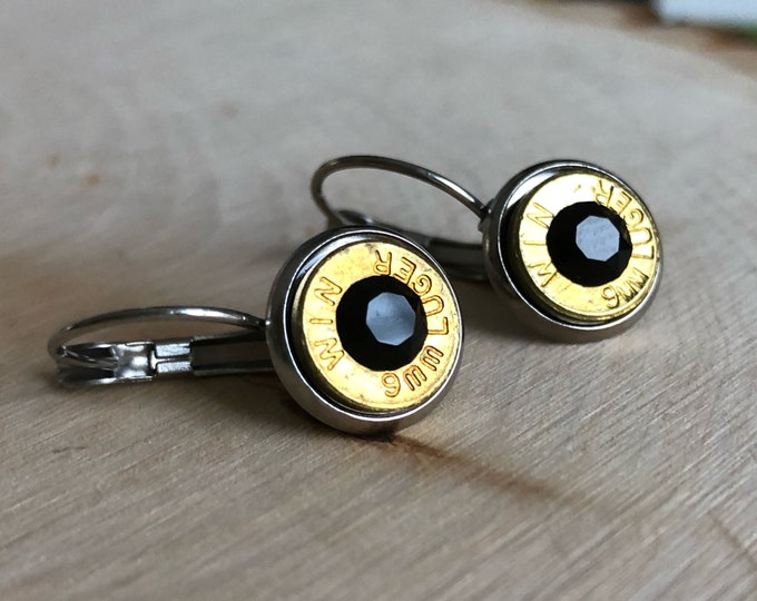 9mm brass bullet earrings, stainless steel lever backs, black swarovski crystals