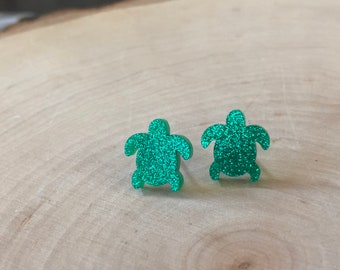 Green glittery turtle studs, stainless steel posts