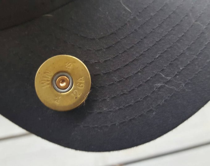 12 gauge shotgun shell end pin, for hats, backpacks, jackets, etc.