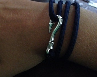 Navy blue paracord bracelet with fish hook