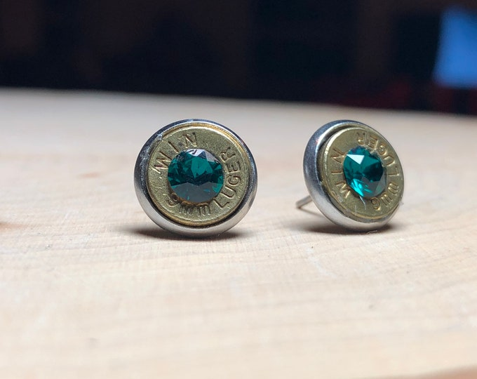 9mm brass bullet studs with emerald swarovski crystals, stainless steel backings