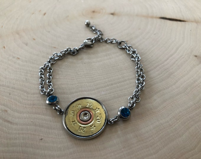 20 gauge shell end bracelet, with either clear or blue stones on side