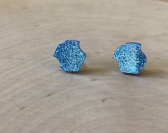 Blue glitter police badge studs, stainless steel posts