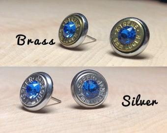 9mm sapphire stud earrings, silver or brass bullet slice earrings, stainless steel