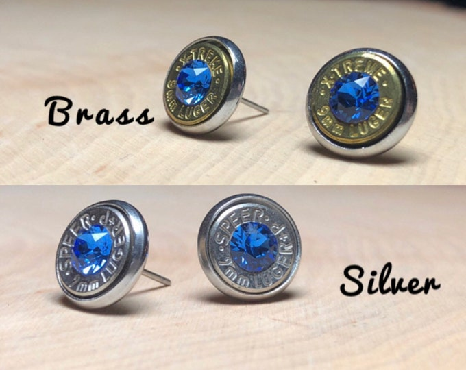 9mm sapphire stud earrings, silver or brass bullet slice earrings, stainless steel