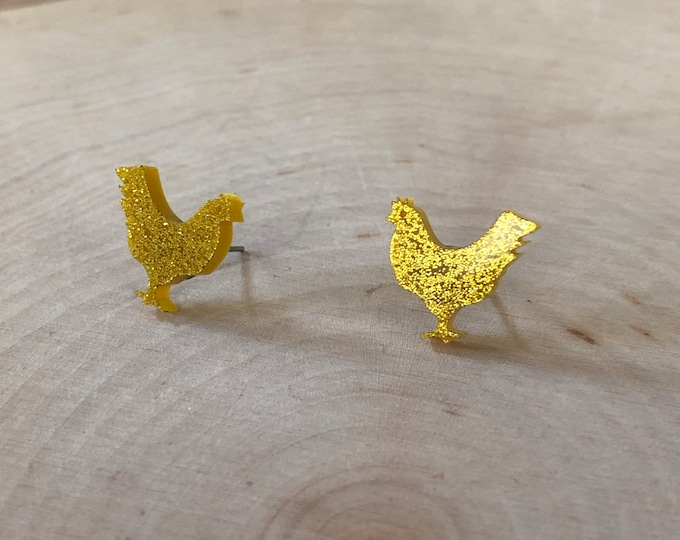 Yellow glitter chicken studs, stainless steel posts
