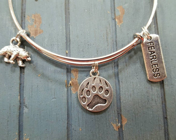 Bear bangle bracelet, silver