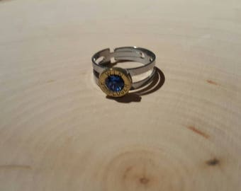 9mm blue swarovski crystal, brass bullet, stainless steel adjustable band, ring