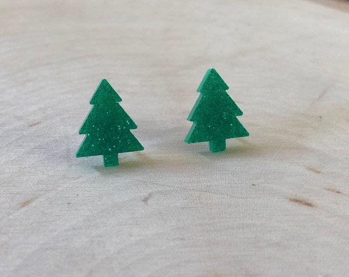 Green glitter pine tree studs, stainless steel posts