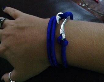Blue paracord bracelet with fish hook