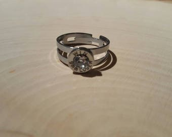9mm clear swarovski crystal ring, stainless steel