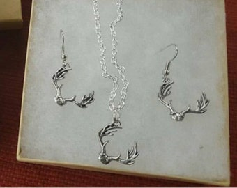Deer antler stainless steel necklace and earring set.