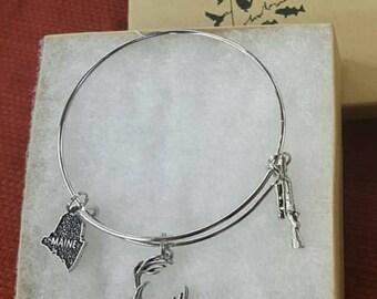 Maine deer hunter bangle bracelet