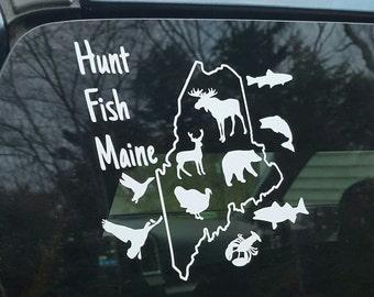 Vinyl sticker with Hunt Fish Maine logo, white