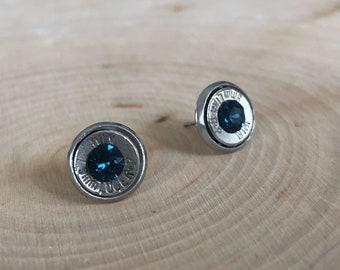 9mm navy blue crystal sliver bullet studs, stainless steel backings