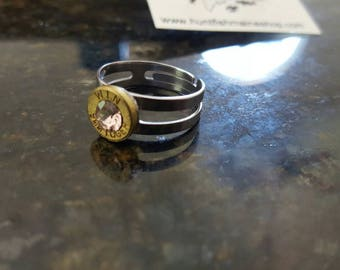 9mm stainless steel adjustable ring pink stone