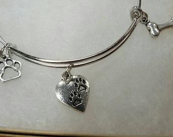 Dog love bangle bracelet