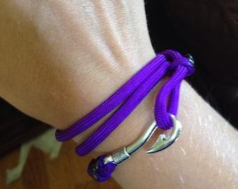 Purple fish hook bracelet