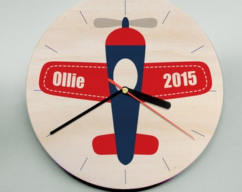 Personalised Childrens Wooden Wall Clock / Plane / Unique Wooden Clock / Modern Kids Clock / Nursery Clock / Boys Clock