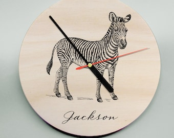 Wooden Wall Clock / Modern Clock / Personalised Clock / Personalized Clock / Zebra / Unique Clock / Room Decor