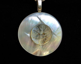 Vintage Layered Carved MOP Button Pendant Necklace, White Mother of Pearl, Blue Etched Smoky Carved Button, Sterling Silver Chain MPN426