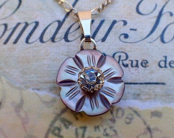 """Vintage Smoky Carved MOP Flower Button Pendant Necklace, Mother of Pearl, Clear Rhinestone Button, 16"""" Figaro Sterling Silver Chain, MPN430"""