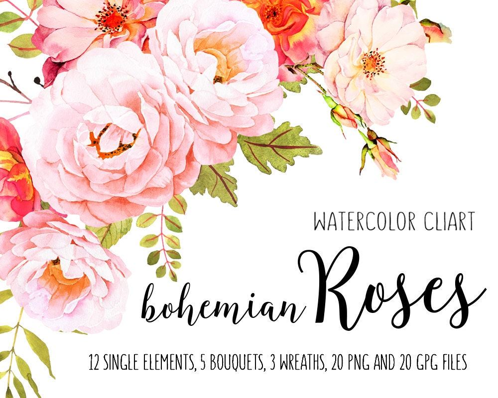Roses watercolor clip art Flower clipart Watercolor bundle ...