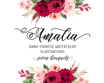 Red an pink roses clipart, Carmine rose, Roses bouquets, wedding bouquets, roses watercolor, Roses clip art, Roses illustration, roses decor