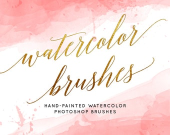 Watercolor brushes, Photoshop brushes, Watercolor clipart, Hand-painted Brushes, Watercolor stamp, Watercolor splash, ABR, Photoshop,