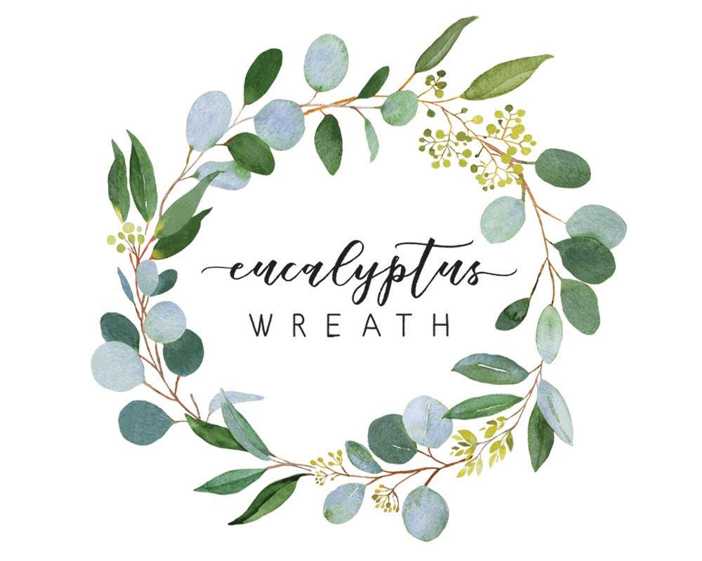 Eukalyptus Kranz Aquarell Hochzeit Gr 252 N Gr 252 Ner Kranz Etsy