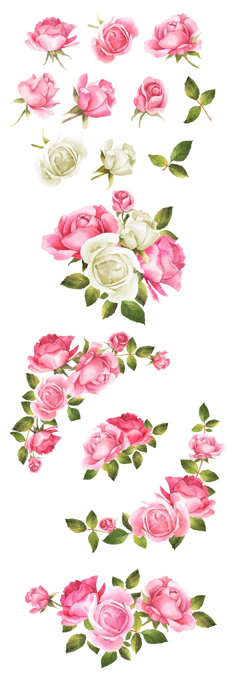 hand-painted Rose wedding bouquets Floral Clipart Roses bouquet Pink Wedding clipart Wedding Clip Art Wedding clipart White roses